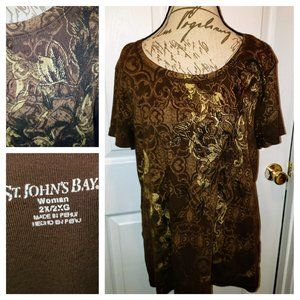 ST JOHNS BAY womens plus sized tee sz 2X EUC